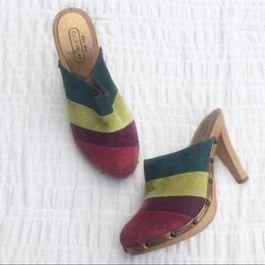 Coach Katy Patchwork Suede Wooden Mules 7.5